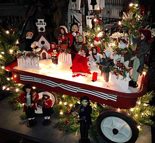 Christmas Scene in Red Wagon